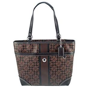 COACH Chelsea Heritage Signature Stripe Brown Tote